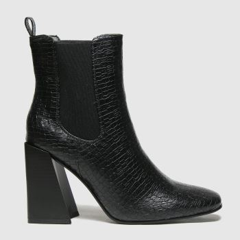 schuh Black Bonnie Lizard Look Square Toe Womens Boots