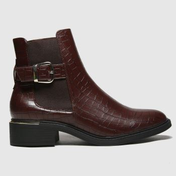 schuh Brown Caitlin Buckle Detail Chelsea Womens Boots