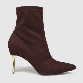 schuh Burgundy Benny Metal Heel Sock Womens Boots