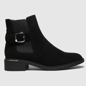 schuh Black Caitlin Buckle Detail Chelsea Womens Boots#