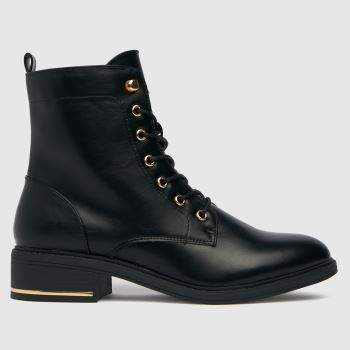 schuh Black Clover Hardware Detail Lace Up Boots