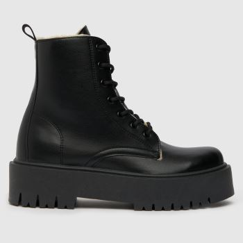 schuh Black Aoife Shearling Lined Lace Up Womens Boots