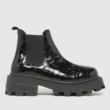 schuh Black Cassidycroc Chunky Square Toe Womens Boots