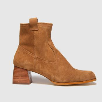 schuh Tan Beryl Suede Square Toe Boots