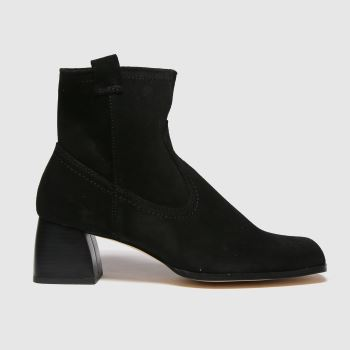 schuh Black Beryl Suede Square Toe Womens Boots
