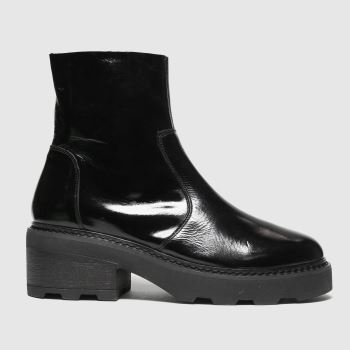 schuh Black Ally Patent Leather Chunky Womens Boots#