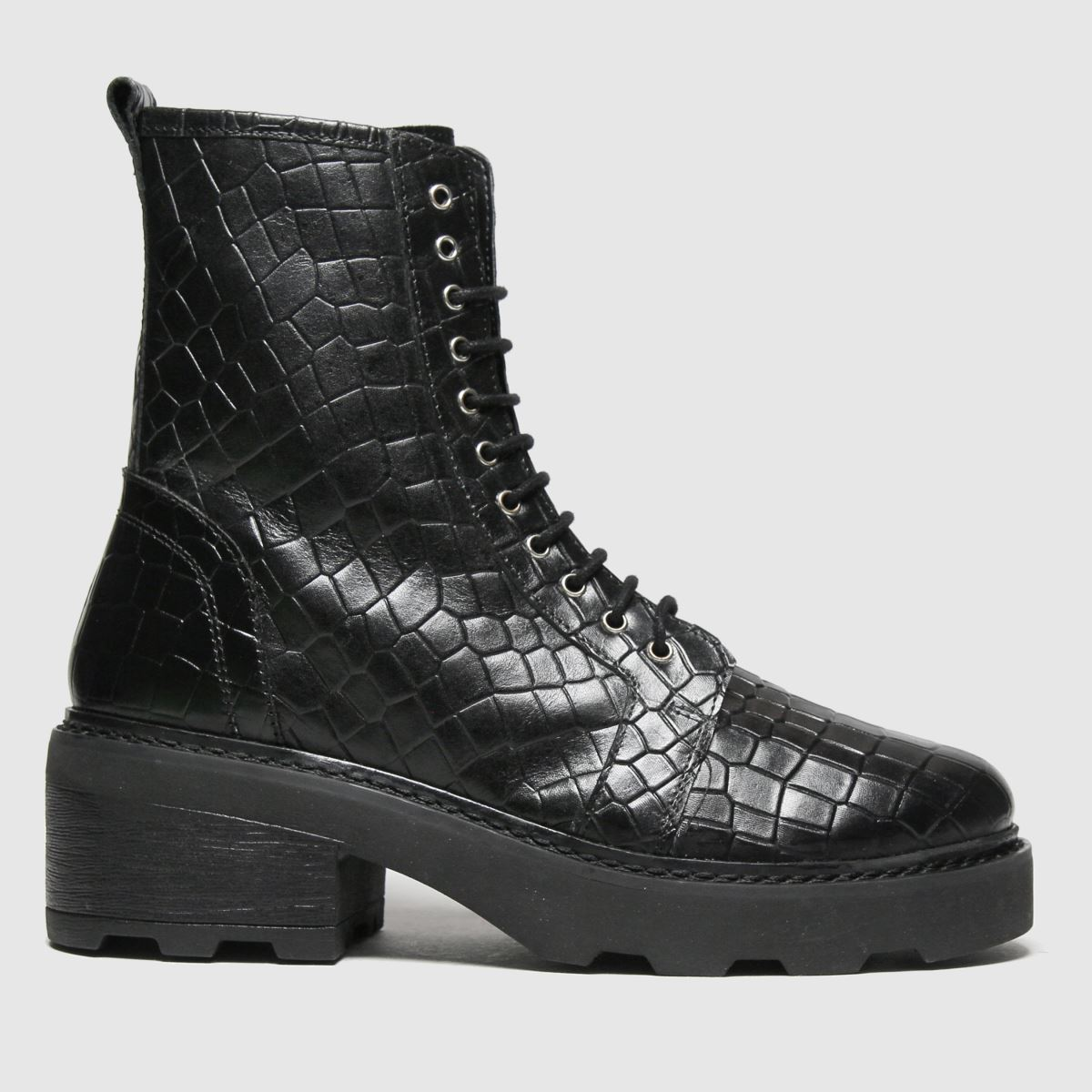 Schuh Black Arvid Croc Leather Lace Up Boots