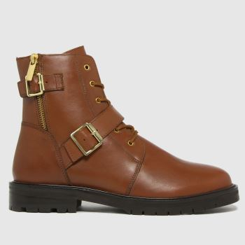 schuh Tan Aurora Leather Buckle Lace Up Womens Boots