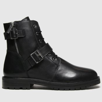 schuh Black Aurora Leather Buckle Lace Up Womens Boots