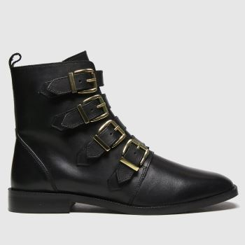 schuh Black Camilla Leather Multi Buckle Womens Boots