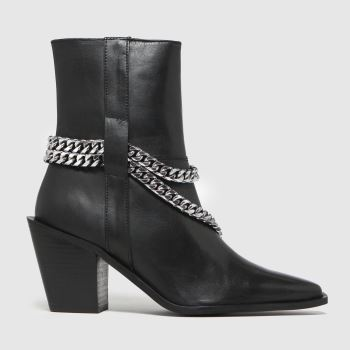 schuh Black Britney Leather Chain Womens Boots