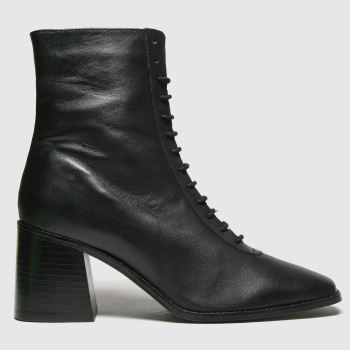 schuh Black Bella Leather Lace Up Womens Boots