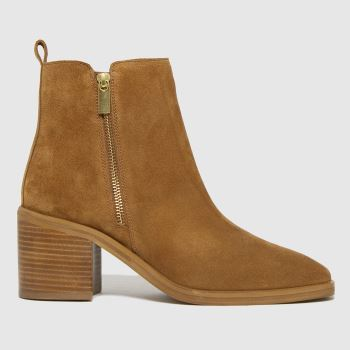 schuh Tan Celeste Suede Side Zip Womens Boots