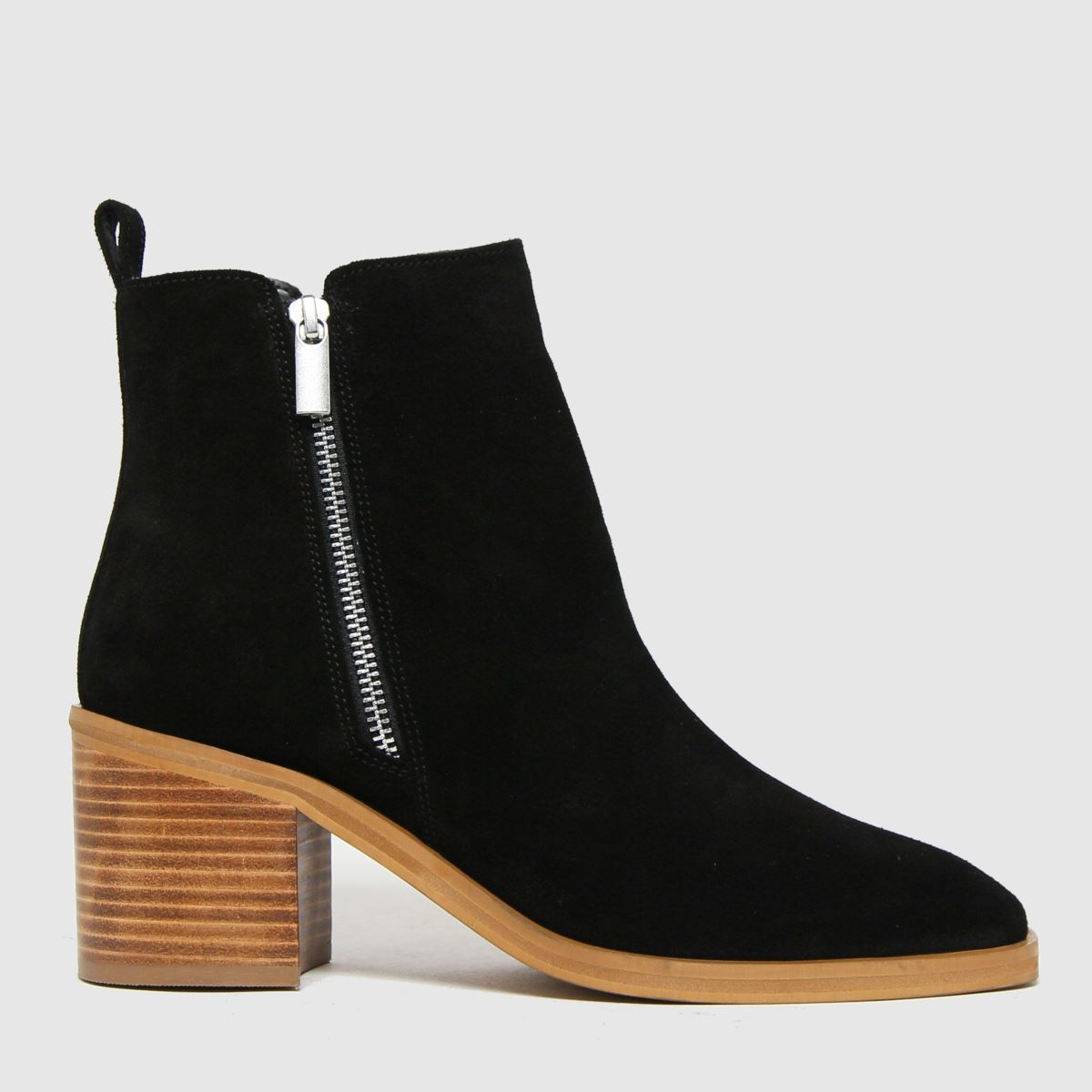 Schuh Black Celeste Suede Side Zip Boots
