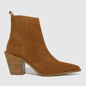 schuh Tan Beatrix Suede Western Womens Boots