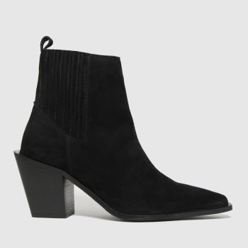 schuh Black Beatrix Suede Western Womens Boots