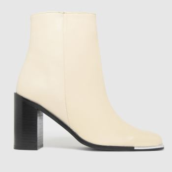 schuh White Byron Leather Square Toe Womens Boots
