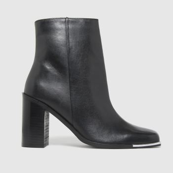 schuh Black Byron Leather Square Toe Womens Boots