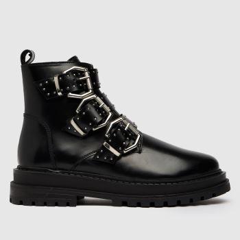 schuh Black Alyssa Leather Buckle Hardware Womens Boots