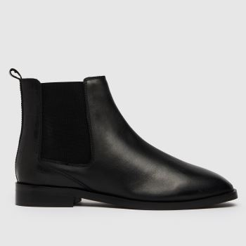 schuh Black Christina Leather Square Toe Womens Boots