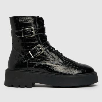 schuh Black Arise Patent Leather Chunky Womens Boots