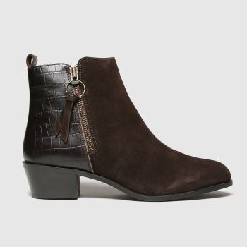 schuh Brown Cara Suede Side Zip Boot Womens Boots#