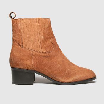 schuh Tan Cheryl Tan Suede Block Heel Womens Boots