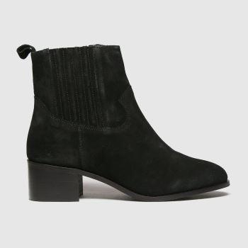 schuh Black Cheryl Black Suede Block Heel Womens Boots