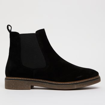 schuh Black Coral Suede Crepe Sole Chelsea Womens Boots