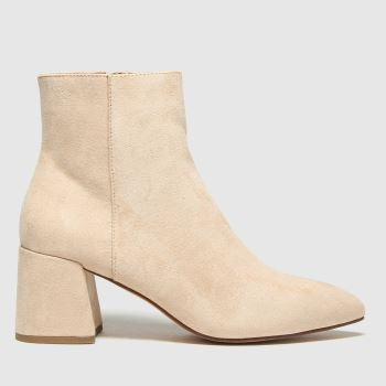 schuh Beige Becky Point Block Heel Womens Boots#