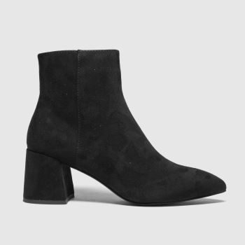 schuh Black Becky Point Block Heel Womens Boots