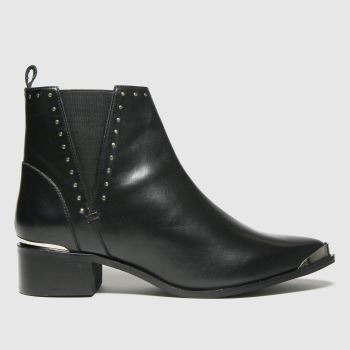 schuh Black Chloe Leather Studded Womens Boots