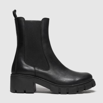 schuh Black Alba Cleated Leather Chelsea Womens Boots