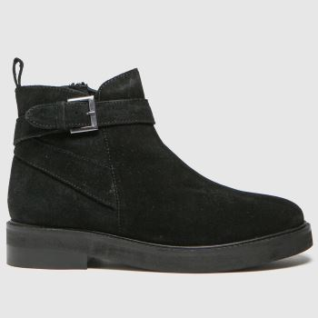 schuh Black Angelica Suede Buckle Womens Boots