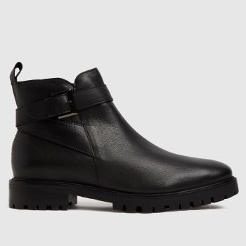 schuh Black Cinthia Leather Buckle Womens Boots