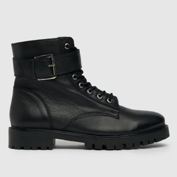 schuh Black Carma Leather Lace Up Womens Boots