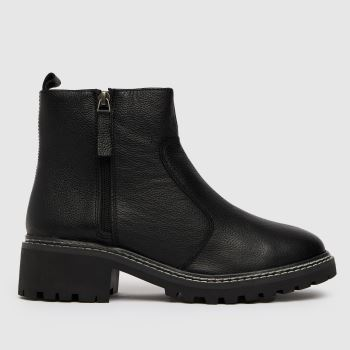 schuh Black Alba Leather Chunky Womens Boots