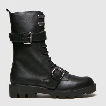 schuh Black Athens Lace Up Buckle Womens Boots