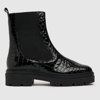 schuh Black Antonia Croc Leather Chelsea Womens Boots