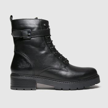 schuh Black Aria Leather Lace Up Womens Boots