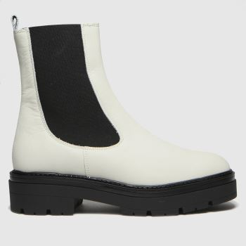 schuh White Alexa Leather Chelsea Womens Boots