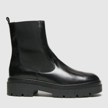 schuh Black Alexa Leather Cleated Sole Womens Boots