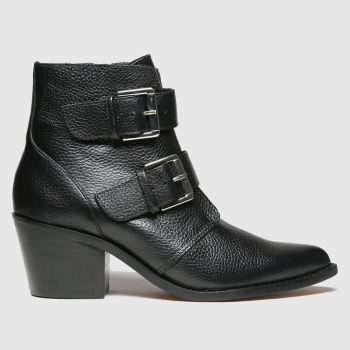 schuh Black Cody Leather Buckle Womens Boots