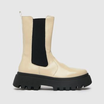 schuh Natural Astrid Patent High Cut Chelsea Womens Boots