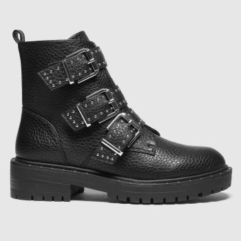 schuh Black Alice Studded Buckle Womens Boots