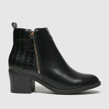 schuh Black Amy Croc Ankle Womens Boots#