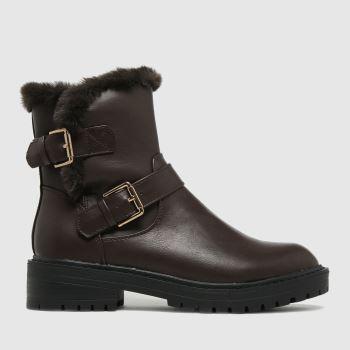 schuh Brown Aubrey Fur Biker Womens Boots