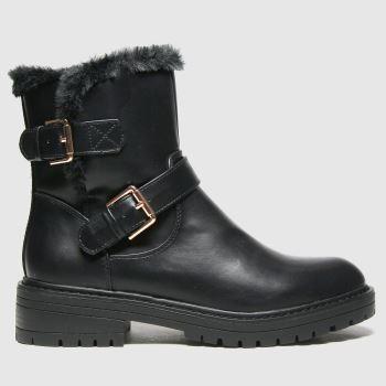 schuh Black Aubrey Fur Biker Womens Boots#