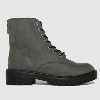 schuh Grey Amelia Lace Up Womens Boots