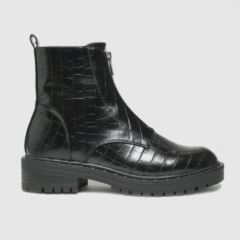 schuh Black Ashlyn Croc Front Zip Womens Boots